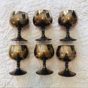 6 vintage brass cocktail glasses